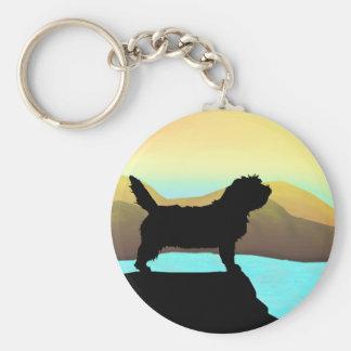PBGV-hund vid havet Rund Nyckelring