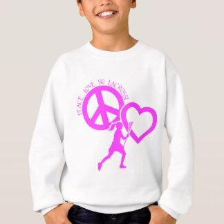 PEACE-LOVE-LACROSSE T SHIRT