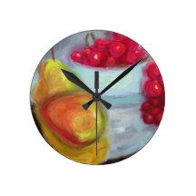 Pears och körsbär väggklockor
