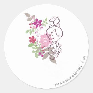PEBBLES™ en Cutie i blommorna Runt Klistermärke