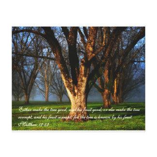 Pecannötfruktträdgård - Matthew 12:33 Canvastryck