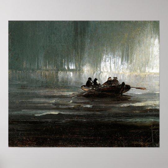 Peder Balke nordligt ljus över roddbåt för fyra Poster