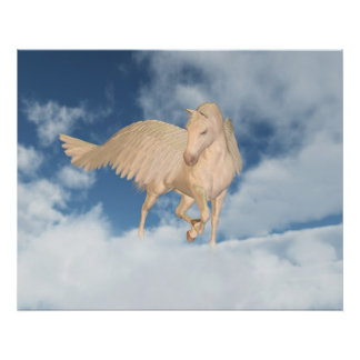 Pegasus tittar besegrar till och med moln poster