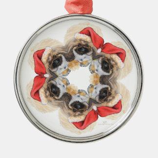 Pekingese Santa Snowflake Julgransprydnad Metall