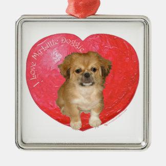 Pekingese/Shih Tzu valentin dag Julgransprydnad Metall