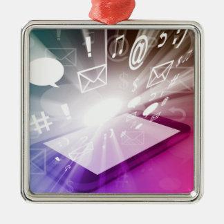 Pekskärm smart mobila nedladda Apps och moln Julgransprydnad Metall