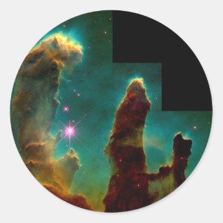 Pelare av skapelsen - det Hubble utrymmeteleskop Runt Klistermärke