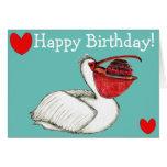 Pelican with birthday cake hälsningskort