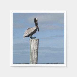 Pelikan på servetter för en posta