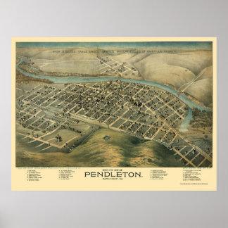 Pendleton ELLER panorama- karta - 1890's Poster