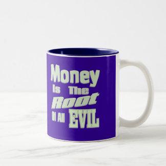 pengar är ondskan för rota allra Två-Tonad mugg