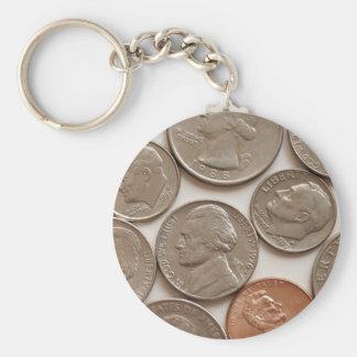 Pengar myntar Keychain Rund Nyckelring