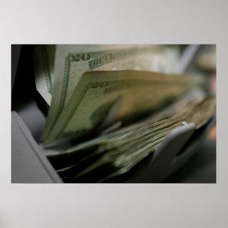 Pengar som räknar maskinen, fotograferar poster