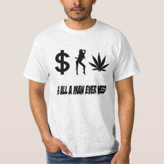 Pengarkvinnaogräset är allt ett behov för man tee shirts