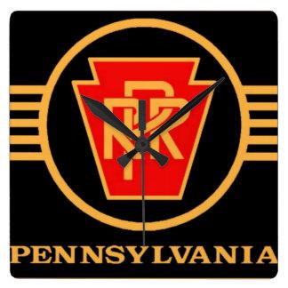 Pennsylvania järnväglogotyp, svart & guld fyrkantig klocka