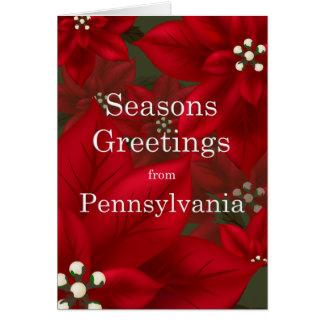 Pennsylvania julstjärnasäsonhälsningar hälsningskort