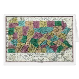 Pennsylvania karta 1829 hälsningskort
