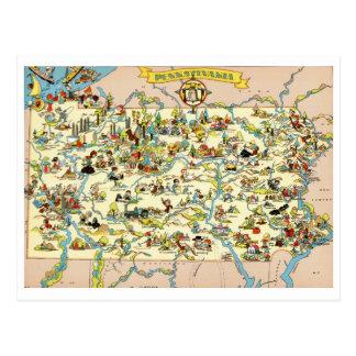 Pennsylvania rolig vintagekarta vykort