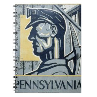 Pennsylvaniankolgruvarbetare Anteckningsbok Med Spiral