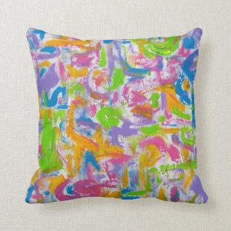 Penseldrag för neonGrafitti-Abstrakt konst Kudde