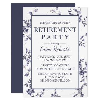 Pension för blommigt för för vintageporslinblått & 12,7 x 17,8 cm inbjudningskort