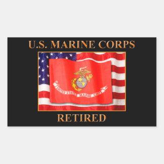 Pensionerade klistermärkear för USMC Rektangulärt Klistermärke