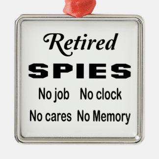 Pensionerade spioner inget inget jobb tar tid på silverfärgad fyrkantigt julgransprydnad