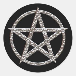 Pentagram bultad kromrundaklistermärke runt klistermärke