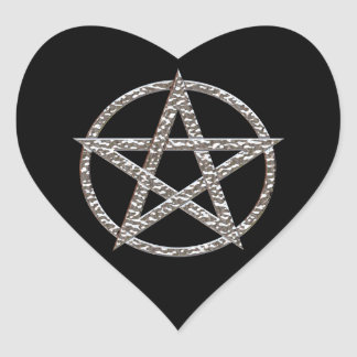 Pentagram bultade kromhjärtaklistermärkear hjärtformat klistermärke