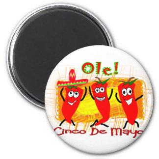 Peppar-Förtjusande Cinco de Mayo 3 dansa chili Magnet