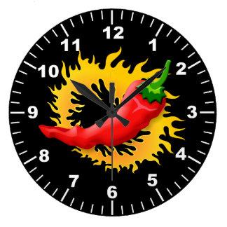 Peppar med flammar stor klocka