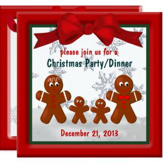Pepparkakafamilj av inbjudan för fyra jul