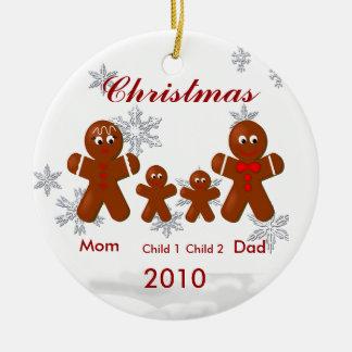 Pepparkakafamilj av prydnaden för fyra jul julgransprydnad keramik