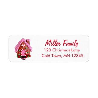Pepparkakahuscandy cane görar randig jul returadress etikett