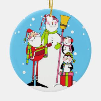 Pepparmint Stix Santa och snögubbeprydnad Julgransprydnad Keramik