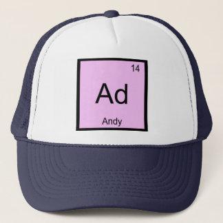 Periodiskt bord Andy för känt kemiinslag Truckerkeps