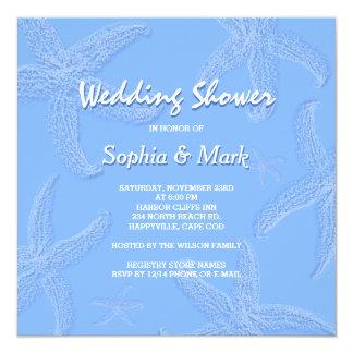 Periwinkle Blue Starfish Wedding Shower Fyrkantigt 13,3 Cm Inbjudningskort