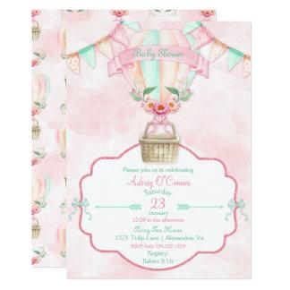 Persika för Mint för luftballongvattenfärg rosa 12,7 X 17,8 Cm Inbjudningskort