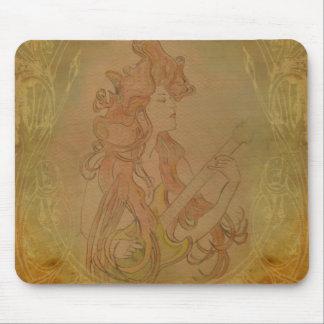 Persika för vintage för art nouveaugitarrflicka musmattor