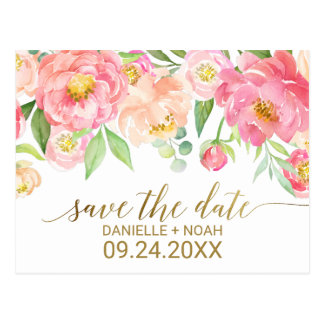 Persika och bröllop spara datum för vykort