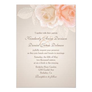 Persika- och krämro som gifta sig inbjudan 2