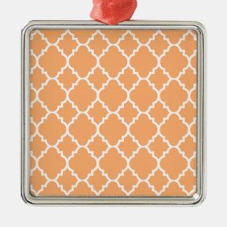 PersikavitQuatrefoil marockanskt mönster Silverfärgad Fyrkantigt Julgransprydnad