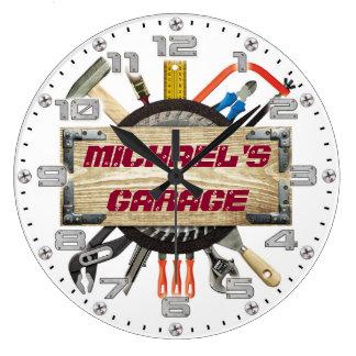 Personalizable för grotta för garageverktygman stor klocka