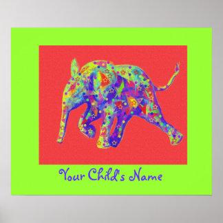 personalizable regnbågebebiselefant poster