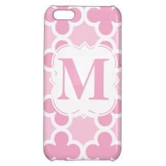Personifiera det Retro rosa Quatrefoil för iPhone 5C Skydd