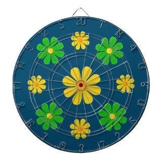 Personifiera grön gula blommor på mörk - blått darttavla