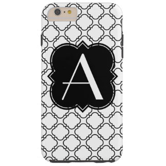 Personifiera monogramen svartvita Quatrefoil Tough iPhone 6 Plus Skal