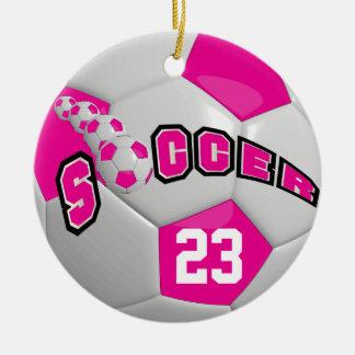 Personifiera shock rosa för fotbollboll | julgransprydnad keramik