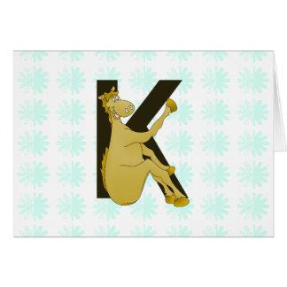 Personifierad böjlig häst för Monogram K Hälsningskort