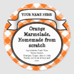 Personifierad burk-/locketikett på burk, orange rund klistermärke